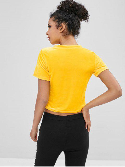 trendy Beauty Graphic Velvet Cropped Tee - YELLOW M Mobile
