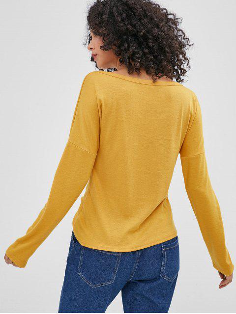 T-shirt Goutte Epaule à Manches Longues - Jaune d'Abeille XL Mobile