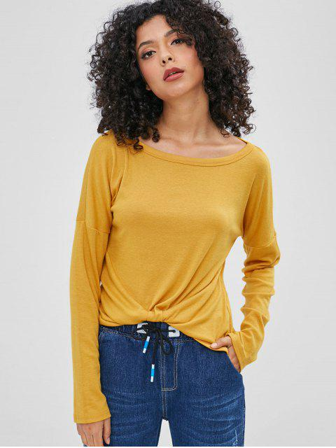 buy Drop Shoulder Long Sleeves Tee - BEE YELLOW XL Mobile