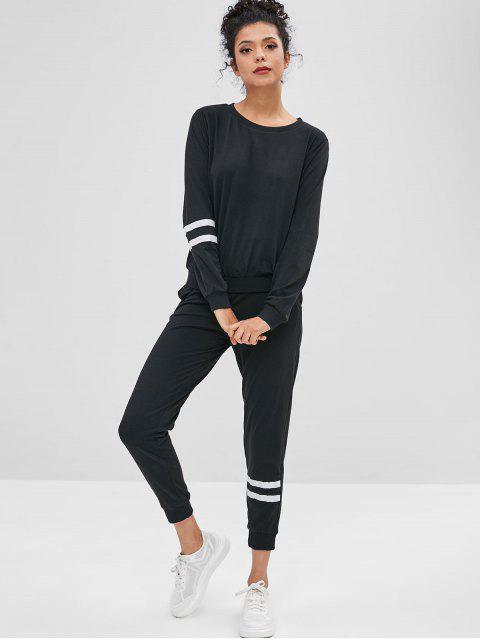 women Striped Sweatshirt and Sweatpants Two Piece Set - BLACK S Mobile