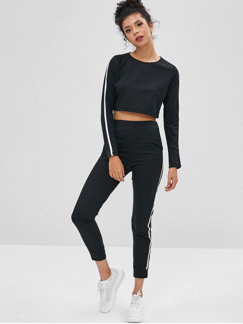outfit Striped Crop Top and Pants Two Piece Set - BLACK M Mobile