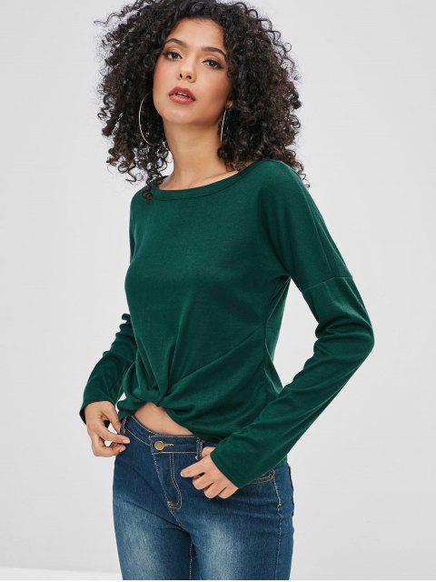 T-shirt Goutte Epaule à Manches Longues - Vert Foncé S Mobile