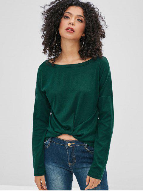 fancy Drop Shoulder Long Sleeves Tee - DARK GREEN M Mobile