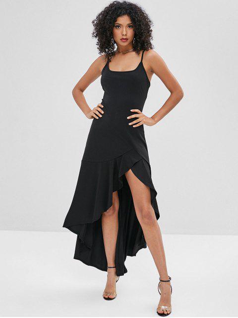 womens Asymmetric Cami Flounce Long Dress - BLACK S Mobile
