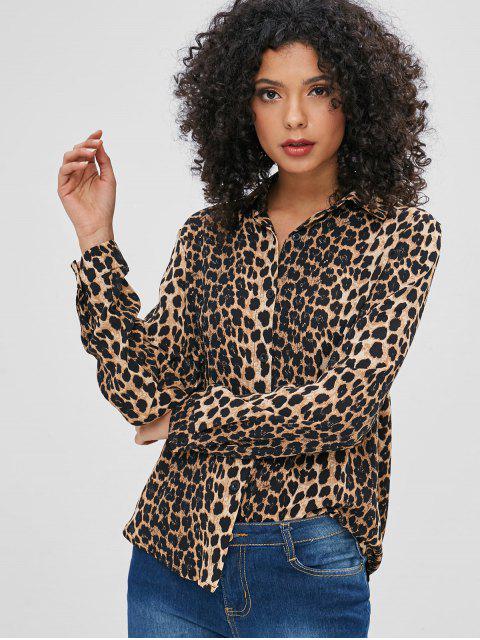 new Leopard Button Up Casual Shirt - LEOPARD L Mobile
