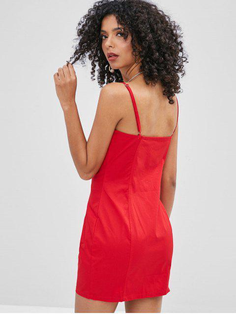 Robe Camisole Simple avec Zip en Avant - Rouge S Mobile