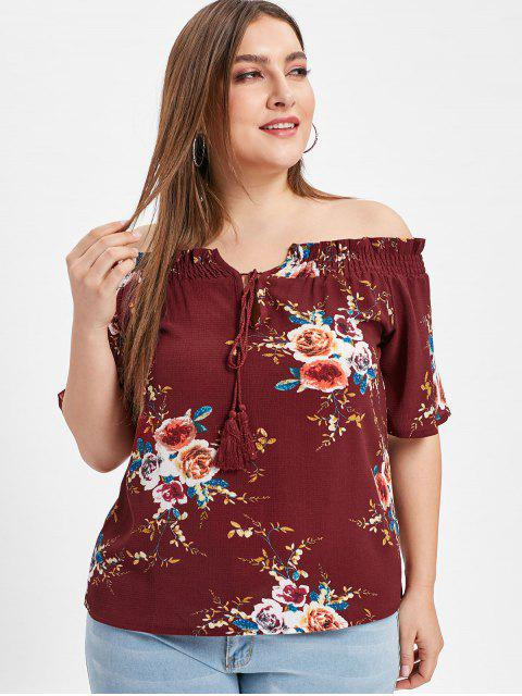 buy Floral Plus Size Off The Shoulder Blouse - RED WINE 2X Mobile