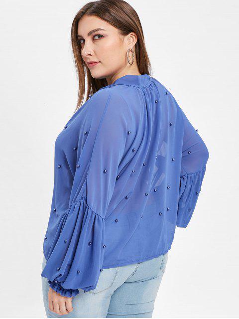 Chemisier Noué Perlé Grande Taille - Bleu 1X Mobile