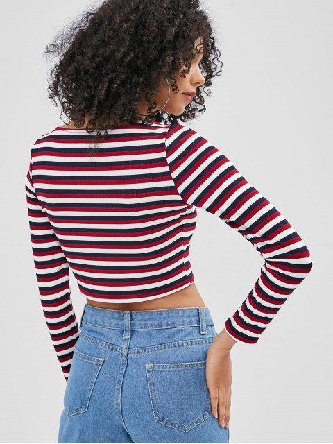 online Buttoned Striped Top - RED WINE XL Mobile