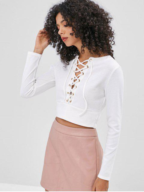 outfits Grommets Lace-up Ribbed Top - WHITE XL Mobile