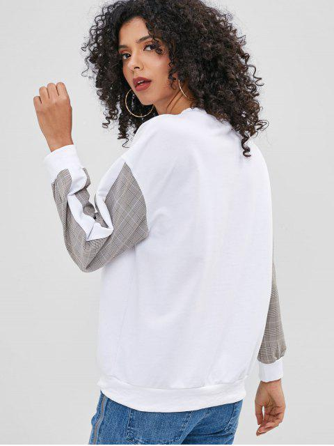 best Plaid Panel Sweatshirt - WHITE L Mobile