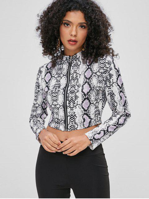 womens Snake Print Zip Front Crop Top - MULTI-A XL Mobile
