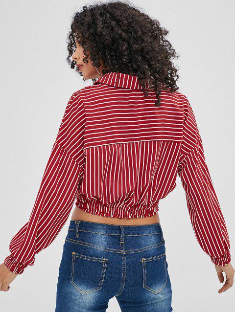 Camisa a rayas con ribete fruncido - Rojo S Mobile