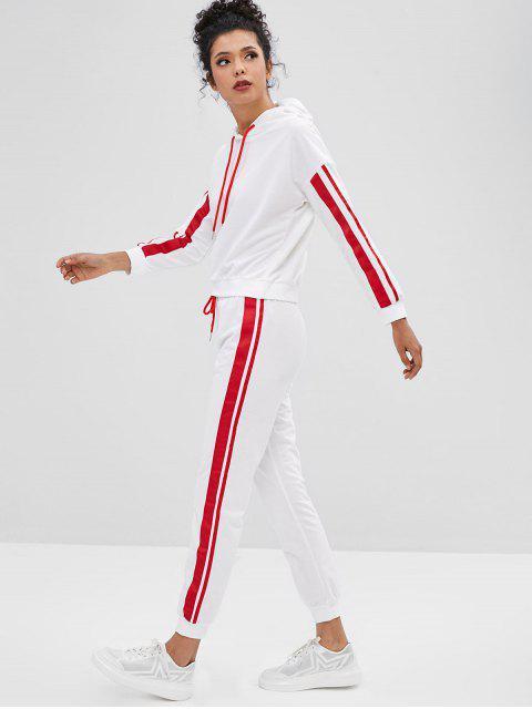 Ensemble Sweat à Capuche Rayé avec Ruban de de Pantalon de Jogging - Blanc XL Mobile