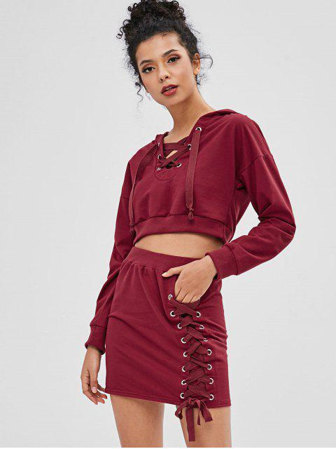 lady Lace-up Two Piece Dress - RED WINE M Mobile