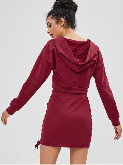 Robe Deux Pièces à Lacets - Rouge Vineux M Mobile