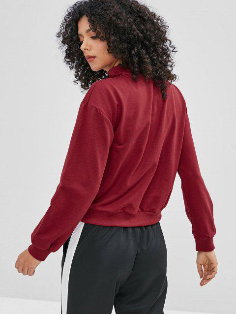 Sweat à Capuche à Demi-Zip en Blocs de Couleur Anneau en O - Rouge Vineux M Mobile