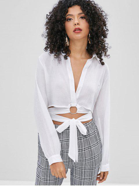 fashion O-ring Tie Plunge Blouse - WHITE M Mobile