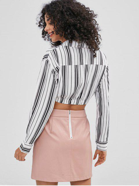 women's Striped Cropped Shirt - WHITE S Mobile
