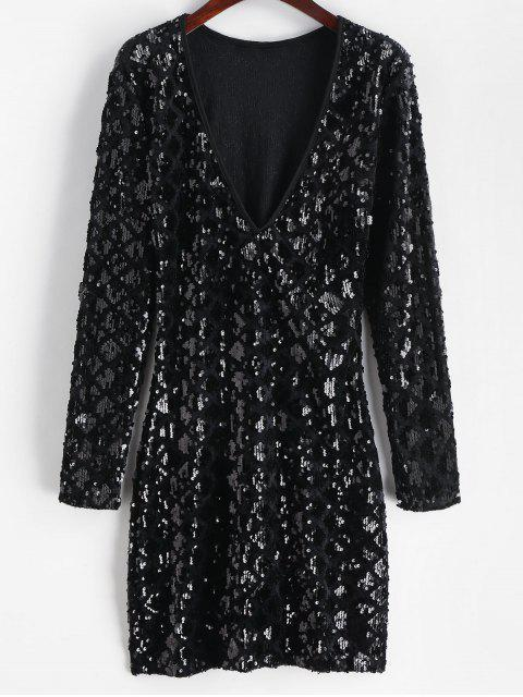 Mini Robe Plongeante à Paillette - Noir M Mobile