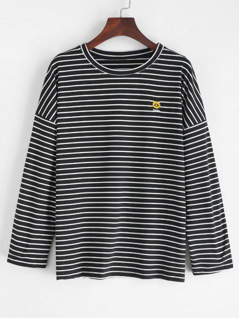 lady Slit Striped Smile Embroidered Tee - BLACK L Mobile
