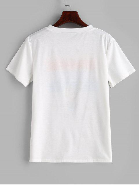 outfit Letter Graphic Short Sleeve T-shirt - WHITE XL Mobile
