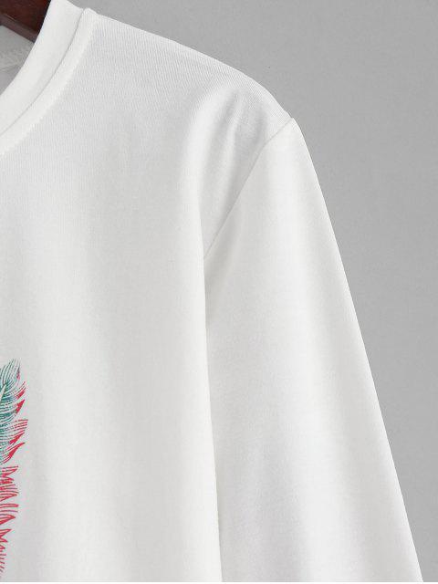 T-shirt Lettre Graphique avec Plume - Blanc Lait L Mobile