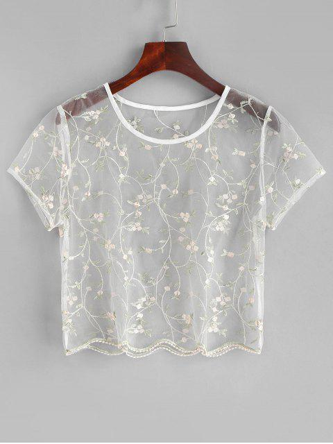 unique ZAFUL Floral Embroidered Sheer Tulle Crop Top - TRANSPARENT M Mobile