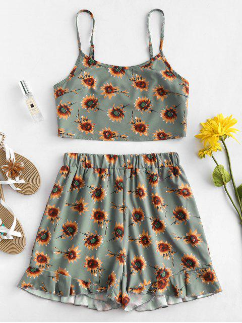 outfits ZAFUL Sunflower Top and Shorts Two Piece Set - MULTI M Mobile