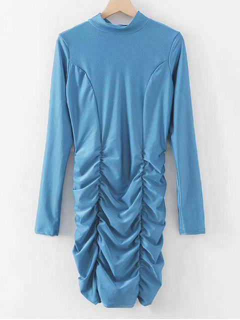 women's Shiny Ruched Bodycon Party Dress - BLUE IVY S Mobile