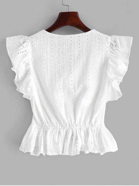 new Eyelet Ruffle Plunging Blouse - WHITE M Mobile