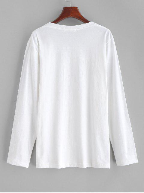 T-shirt Lettre Graphique Licorne - Blanc Lait Taille Unique Mobile