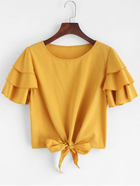 new Layered Ruffles Tie Blouse - YELLOW M Mobile