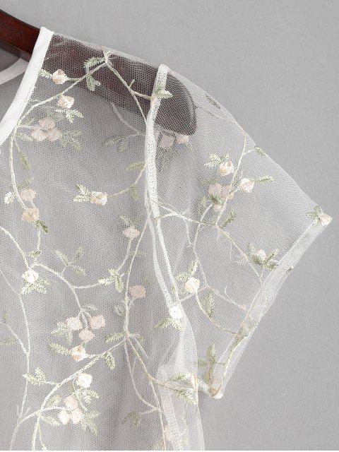 ladies ZAFUL Floral Embroidered Sheer Tulle Crop Top - TRANSPARENT S Mobile