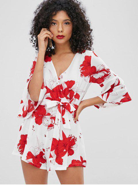 fancy Floral Print Belted Wide Leg Romper - WHITE S Mobile