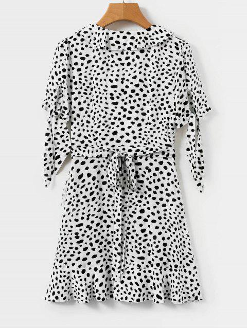 Mini Robe Enveloppée à Pois à Volants - Multi L Mobile