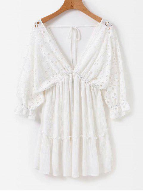 online Anglaise Broderie Empire Waist Mini Dress - WHITE M Mobile
