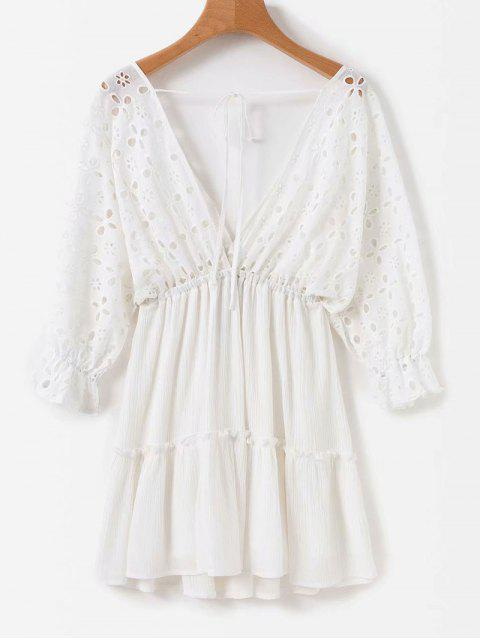 Anglaise Broderie Empire Taille Minikleid - Weiß S Mobile