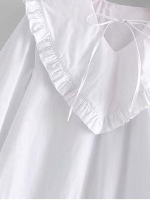 latest Wide Sleeve Wide Collar Blouse - WHITE M Mobile