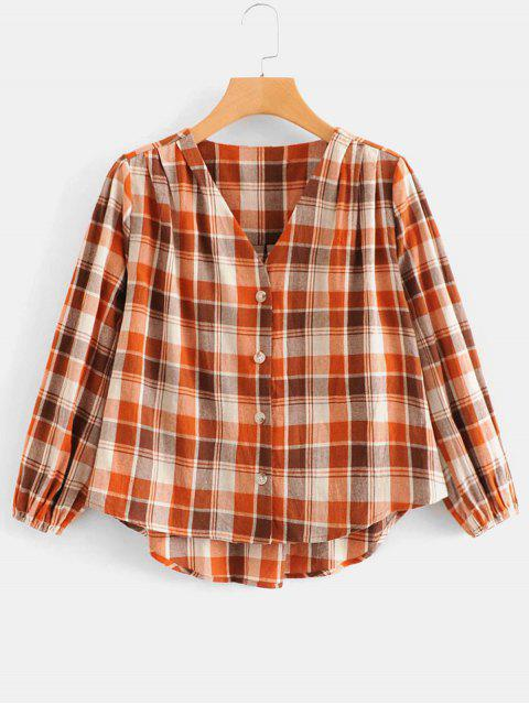 womens Button Up Woven Plaid Top - MULTI S Mobile