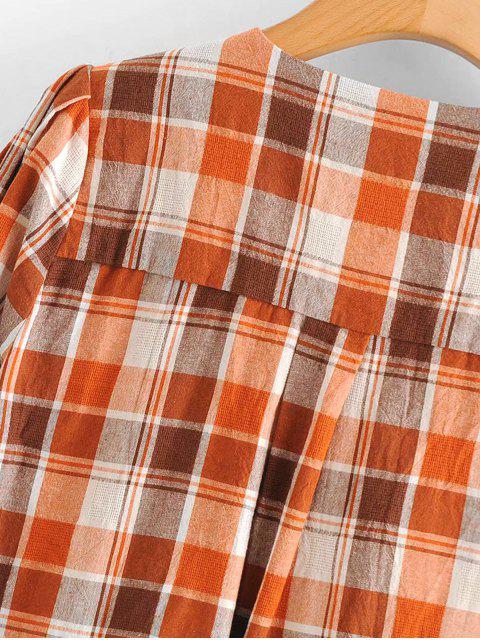 women's Button Up Woven Plaid Top - MULTI L Mobile