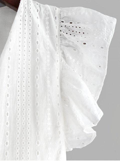 women's Eyelet Ruffle Plunging Blouse - WHITE L Mobile
