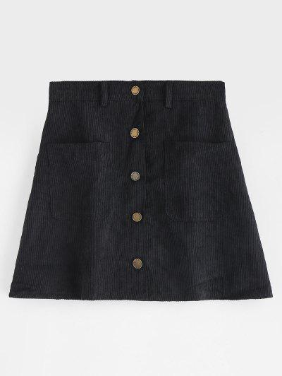 Pockets Button Up Corduroy Mini Skirt