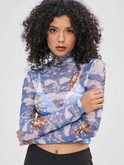 Mira La Camiseta Estampada De Malla - Cielo Azul Oscuro M f4bdbc972db