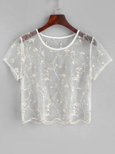 ZAFUL Floral Embroidered Sheer Tulle Crop Top