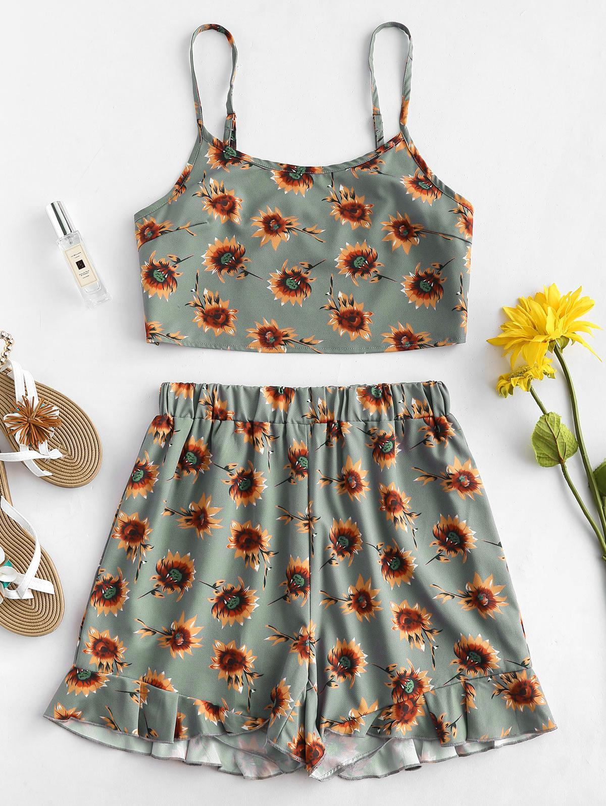 ZAFUL Sunflower Top and Shorts Two Piece Set