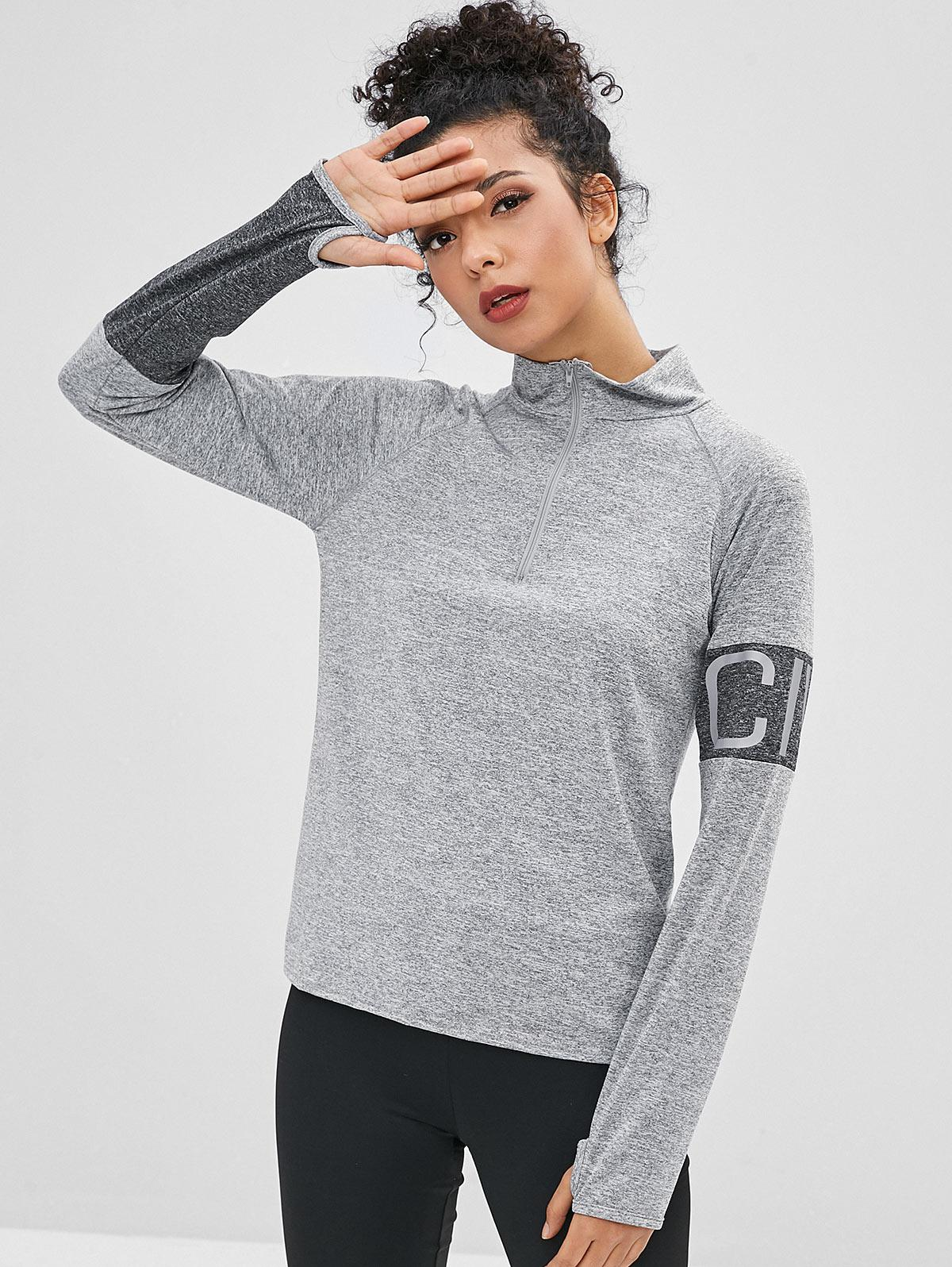 Zipper Letter Graphic T-shirt with Armhole, Gray