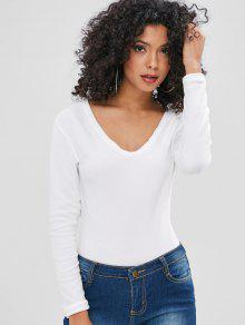 طويلة الأكمام الخامس الرقبة ارتداءها - أبيض M