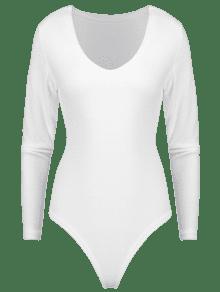 922c8f13ab 37% OFF  2019 Long Sleeve V Neck Bodysuit In WHITE XL
