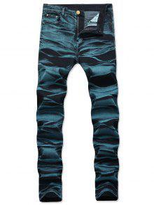 جينز مستقيم طويل بسحاب - الطاووس الأزرق 38